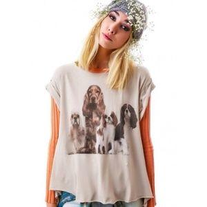 Wildfox Cavalier King Charles Spaniel Dog Shirt L